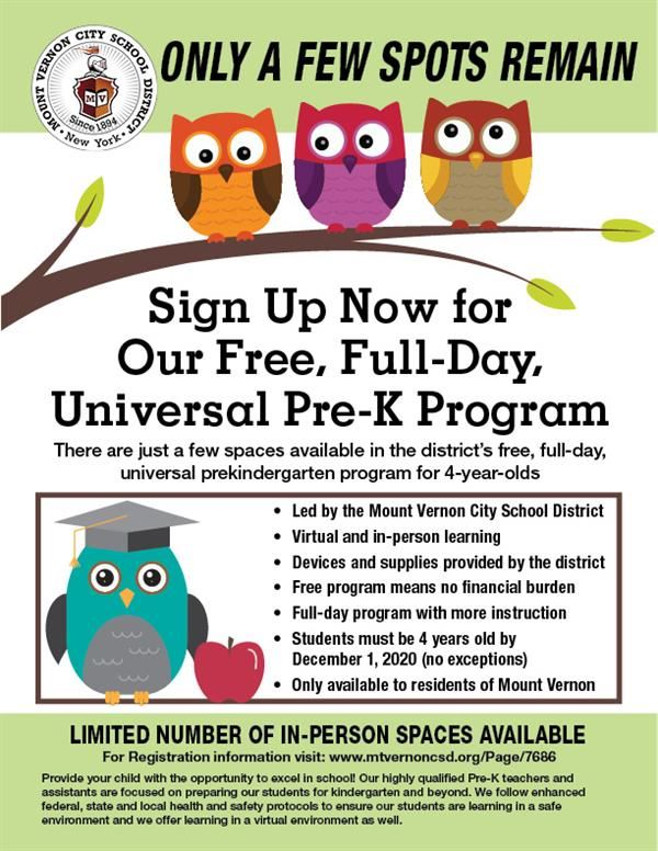A few pre-K 4 program seats are still available